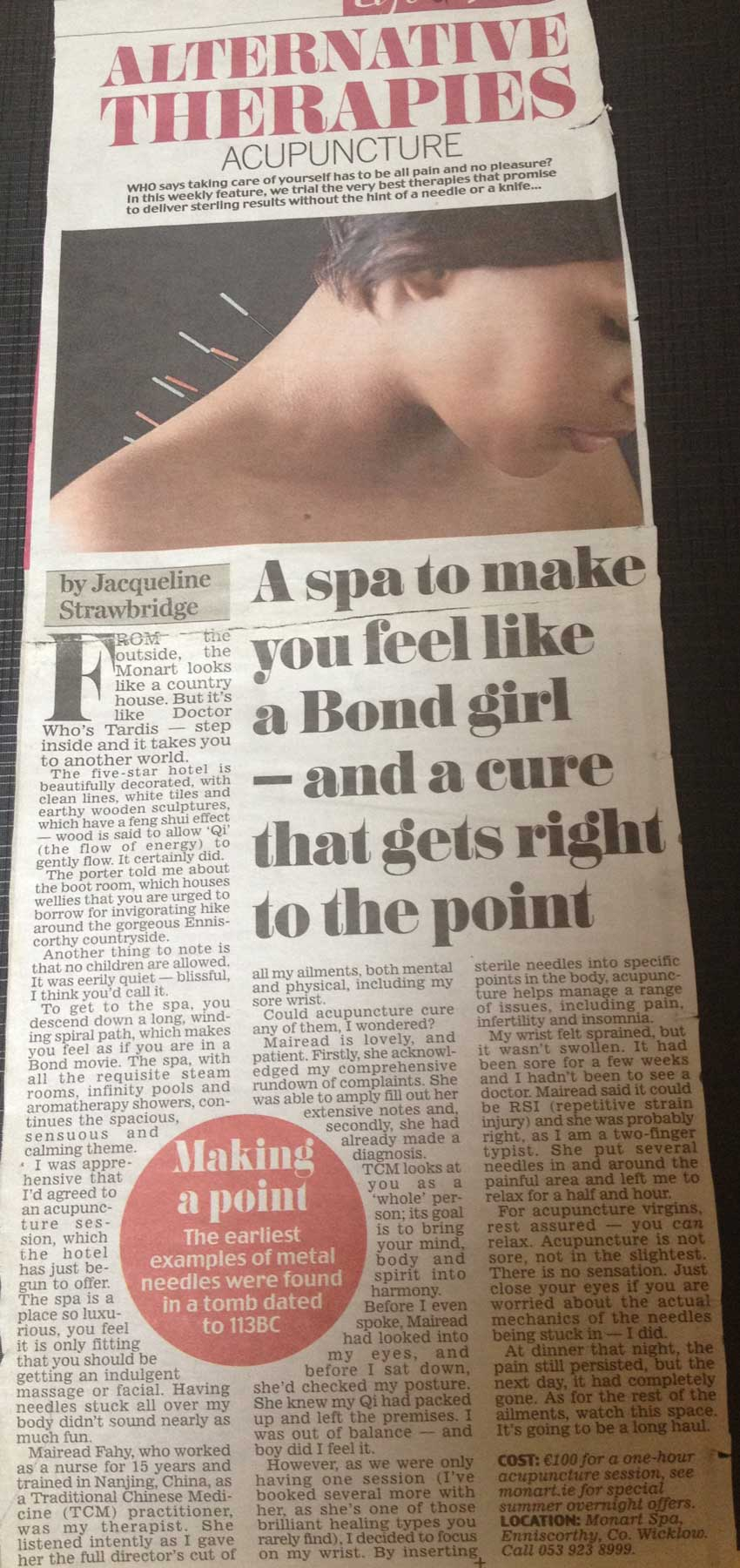 Monart Spa Article on Acupunture Treatments available from Mairead FAhy